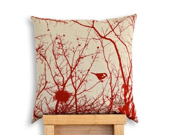Winter Nest Cushion Cover in Deep Red.
