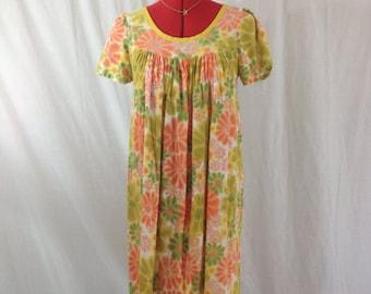 Autumn Hippie Dress 1970s XS/S