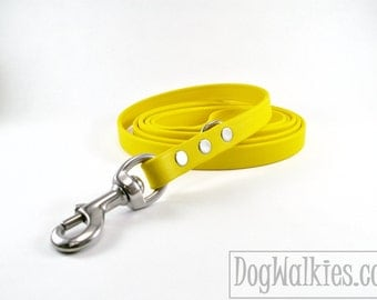 """Sunflower YellowBiothane Dog Leash - 5/8"""" (16mm) - Choice of: Stainless Steel or Brass Hardware and Length 4ft, 5ft or 6ft (1.2m,1.5m,1.8m)"""