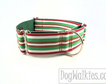 "Candy Cane Stripes Christmas Dog Collar - 1.5"" (38mm)Wide - Choice of collar style and size - Martingale Dog Collars or Quick Release Buckle"
