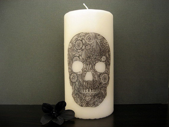Skull Candle - Lacy Loss  - Victorian Inspired - Lace Pattern