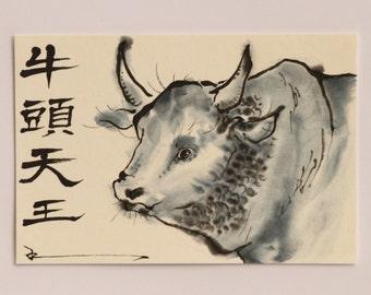 Ink art drawing. All items are hand drawing Postcard. Reina Kobayashi art work ' 'KOZUTENOU(the deity of Yasaka shrine.)'