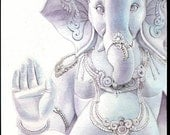 8x10 original watercolor painting, Lord Ganesh,  wall art earthspalette - Earthspalette