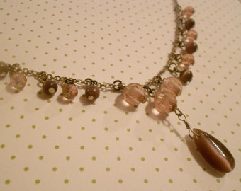 Vintage moonstone and faceted bead necklace.  Choker.  Antique.