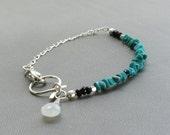 Turquoise Stacking Bracelet, Birthstone Jewelry, Turquoise Silver Bracelet, Item B58