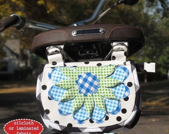 Solveig Flowered Bike Handlebar Basket/Bag/Pouch SEWING PATTERN - Hemma Designs - Perfect for Oilcloth or Laminated Cottons