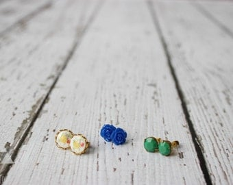 three sets of post earrings - blue rose + vintage floral milk glass + green faceted stone