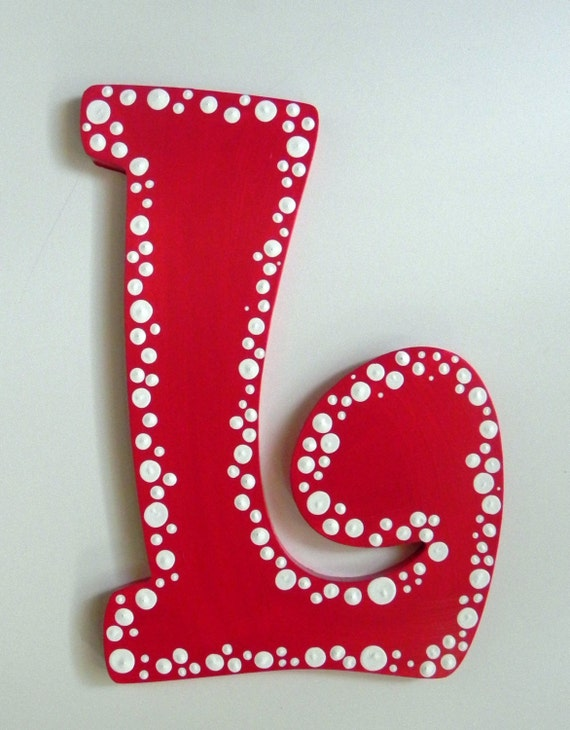 dotted hand painted letter to match room d cor. Black Bedroom Furniture Sets. Home Design Ideas