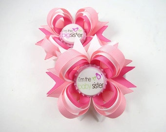 Big Sister and Little Sister Pink and White Hair Bows - Big Sister Hair Bow - Little Sister Hair Bow - Big Sister Little Sister Bow Set