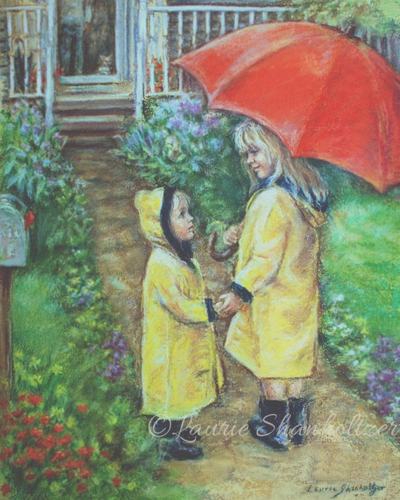 "Brother and sister, Raincoats, Red umbrella, Archival reproduction print, Choose size, Laurie Shanholtzer ""Time To Come Home"""