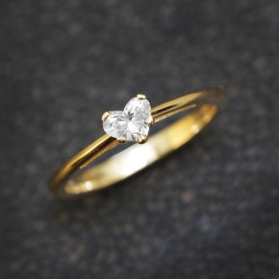 heart shape diamond ring solitaire crown by sillyshinydiamonds