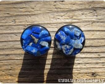 Lapis Lazuli Stone Plugs - 00g, 7/16, 1/2, 9/16, 5/8, 3/4, 7/8, 1 Inch