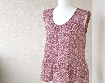 TOP - sleeveless  shirt - tank top - CUSTOM ORDER - Liberty of London - wide shoulder