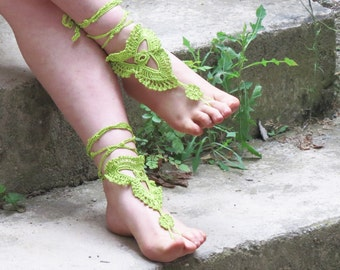 Crochet barefoot sandals green sandals, foot decoration,wedding lace sexy yoga anklet beach pool, Bellydance, ACCESSORİES, Gift For Her