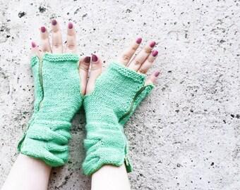 Pastel Handknitted Mittens Cozy Fingerless Gloves Mint, Fingerless Gloves, Zipper Gloves, Gloves Teens, Gloves Mittens, Mitts, Winter