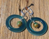 CLEARANCE!  Recycled Glass Hoop Earrings  413