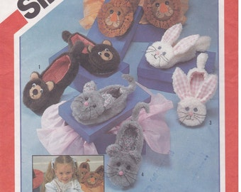 Adult Critter Slippers Pattern Simplicity 6231 Uncut