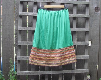 Funky Green A Line Eco Skirt/ Upcycled Skirt/ Elastic Waist Skirt