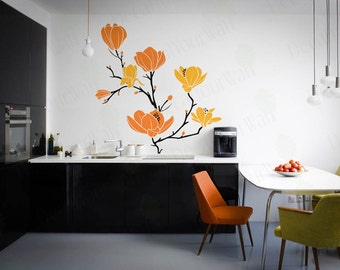 Wall Decals Flower Blossom Decal Bedroom Living Room Nursery Tree Branch Magnolia Wall art Home Decor Sticker Removable Vinyl Size 2