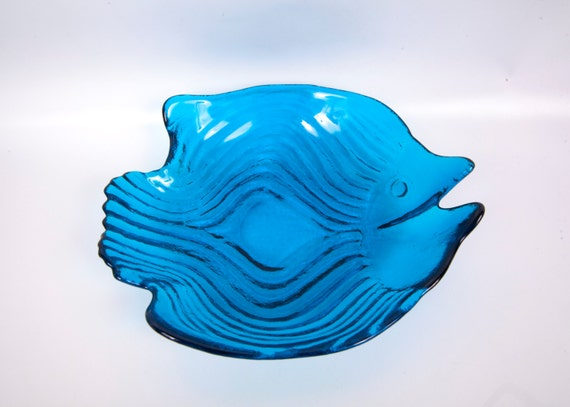 Vintage blue glass fish shaped bowl art glass by for Fish shaped bowl