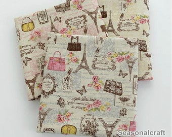 Cotton Linen with Eiffel Tower, Fresh Style,Bag and Butterfly Style, Zaka DIY Fabric, 1/2 yards (QT360)