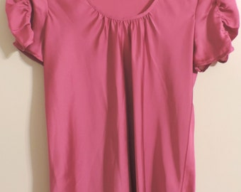 Ladies Baby Doll Top by Sunny Leigh - Rose Pink Fuchsia Mauve - Sz L