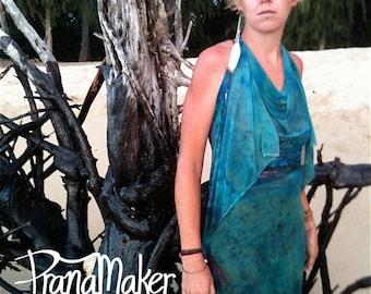 One-of-a-Kind Custom PranaMaker Scarf Wrap Dress. Danae Driade. Hand Painted by Natalia Hacerola.