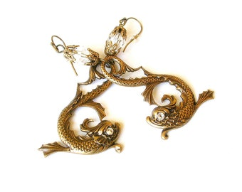 Mythical Koi Fish Earrings Brass Fantasy Women Gothic Jewelry