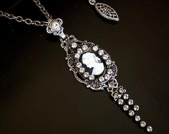 Cameo Necklace Swarovski Crystal Silver Pendant  Women's Gift Victorian Necklace Swarovski jewelry