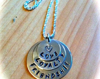Sterling Silver Hand Stamped Friendship Necklace