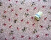 pretty pink floral print cotton blend vintage fabric -- 44 wide by 3/4 yard