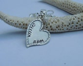 Personalized Heart Necklace - Sterling Silver - Hand Stamped - Mom Necklace - Mother's Necklace - Valentine's Day - Heart Necklace