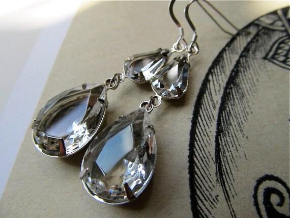 1920s Earrings Wedding Earrings Crystal Bridal Earrings Clear Earrings Silver Teardrop Earrings- Dewdrops