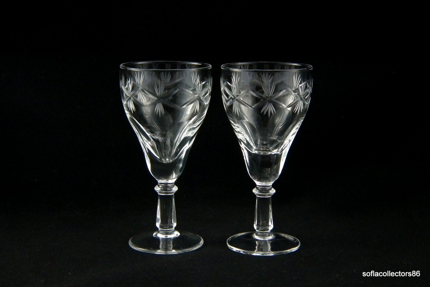 Port Wine Glasses Sherry Glasses Tulip Bowls 5 Paneled