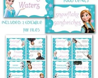 INSTANT DOWNLOAD Frozen Princess Elsa & Anna Food Tents Editable
