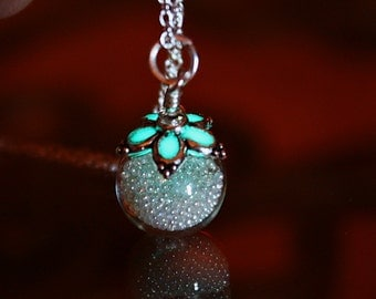 Tiny glass balls in glass bubble GLOW in the DARK pendant