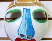 African/Tiano  Influence  Mask- Painted Gourd- Hanging Mask- Decorative mask