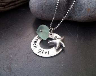 "Sea glass jewelry,  ""Beach girl"" hand stamped necklace with starfish and sea glass nugget"