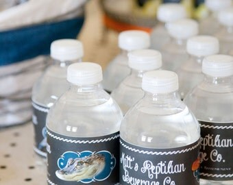 Reptile Birthday Party Decor -- Water Bottle Labels -- 2x8.5""