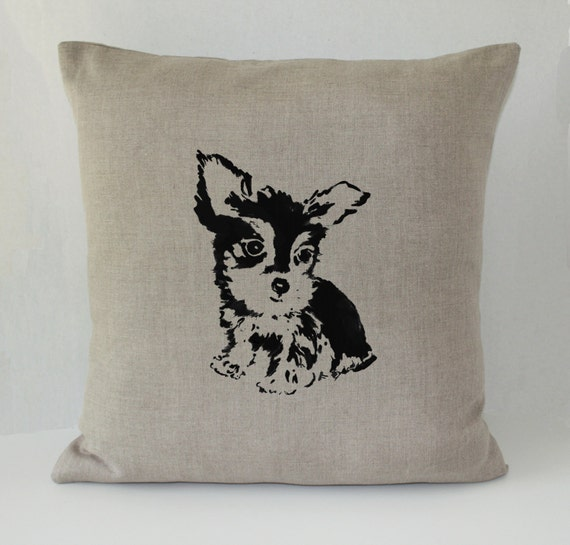 Decorative Pillow With Dog : Yorkie Dog Decorative Throw Pillow Cover Irish by JaneCrakerDesign