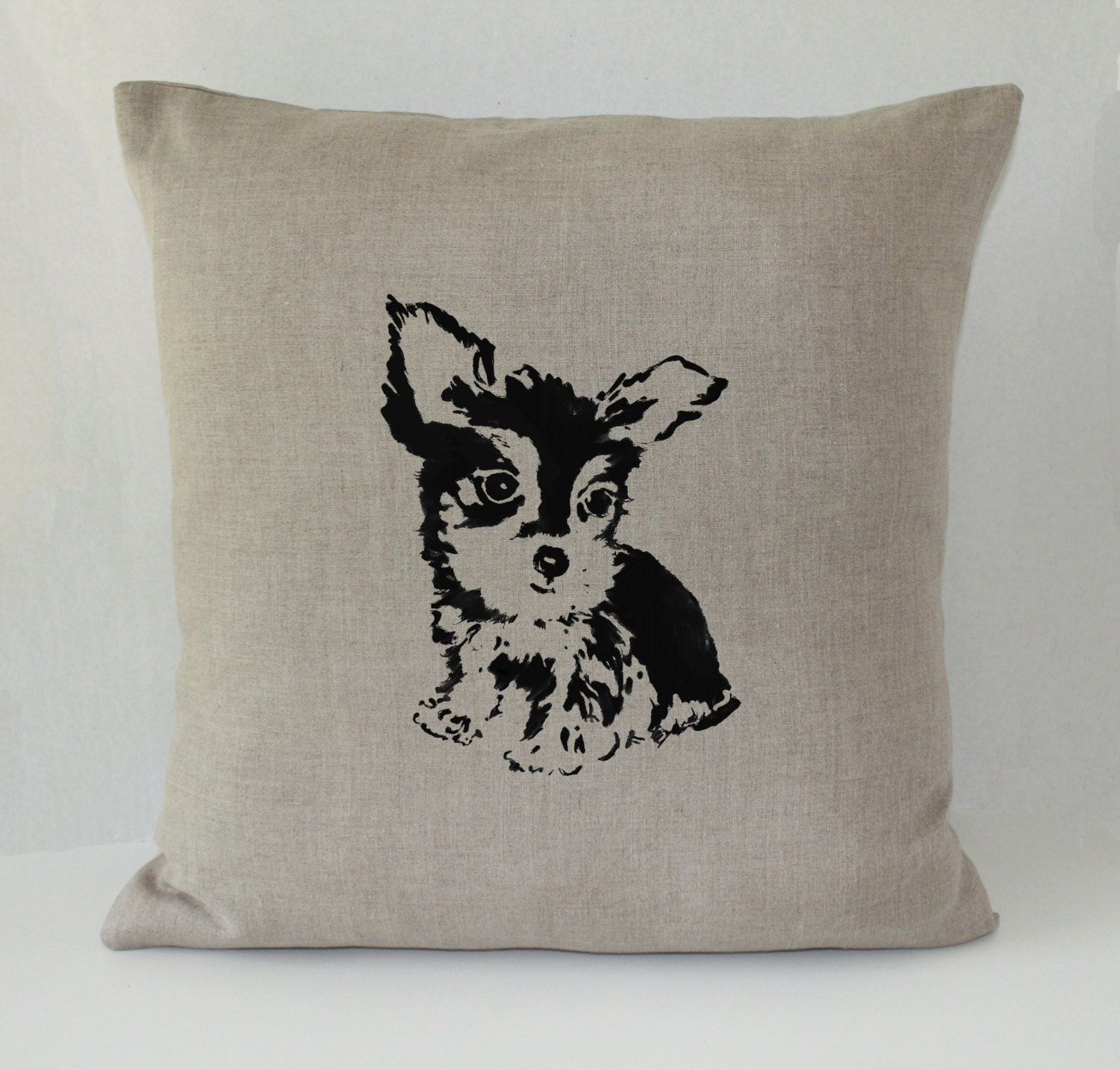 Yorkie Dog Decorative Throw Pillow Cover Irish Linen 20x20