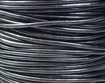 2mm Metallic Gunmetal Premium Leather Cord - 3 Yards / 9 Feet / 2.74 Meters - BLM23