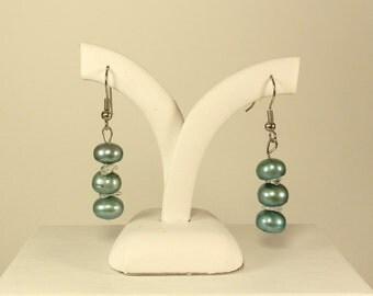 CLEARANCE Freshwater Pearl and Topaz Earrings  --  Gemstone Earrings Gift for Her