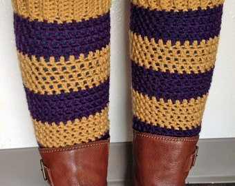 Teen - Adult Leg Warmers - Purple and Gold Sport Stripe - Acrylic Yarn Blend  - Handcrafted Crochet - Accessory