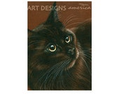 ACEO Cat Art Print, Golden Eyes Cat, Artist Trading Card, Cat Pastel Drawing, Archival Print, SFA Small Format Art, Cat Portrait, ADA-P308