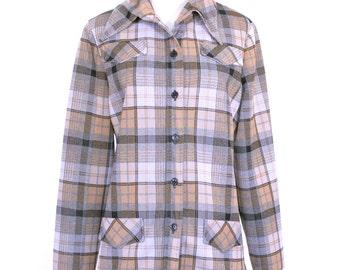 70's Vintage Jacket, Plaid Jacket, Black, Grey, Brown, Tan Jacket, Light Weight Jacket