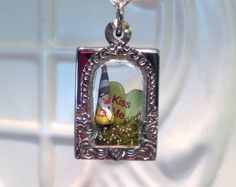 Garden Gnome Kiss Me heart Garden Gnome Mushroom Terrarium Pendant christmas birthday gift stainless steel terrarium case terrarium necklace