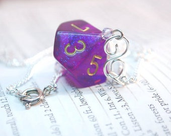 Purple Sparkle Dice Necklace D10