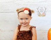 Fabulous Fall Headband - Brown Orange Cream -  Baby Newborn Infant Photo Prop Toddlers Girls Women