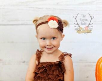 Fabulous Fall Headband - Brown Orange Cream -  Baby Newborn Infant Photo Prop Toddlers Girls Women